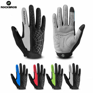 RockBros Touch Screen Cycling Gloves GEL Pad Long Full Finger Gloves Black Red