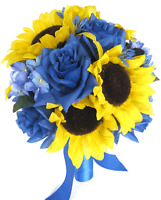 17 Piece Package Wedding Bouquets Bridal Silk Flower Yellow Sunflower Royal Blue