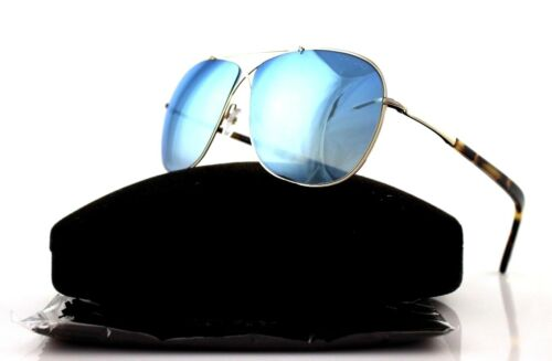 RARE New Authentic TOM FORD APRIL Pilot Gold Havana Blue Sunglasses TF 393 28X