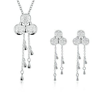 Women 925 Sterling Silver Plated Tassel Butterfly Necklace Earrings Jewelry Sets