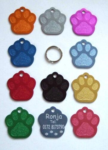 aluminio 11 colores 2 x perros marca pata etiqueta de metal//grabado