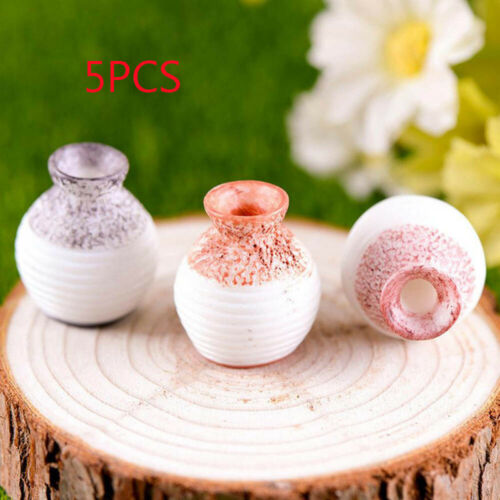 5 x Resin Miniature Small Mouth Vase Ornament Micro Landscape Garden Decoration