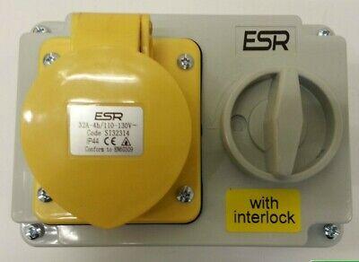Esr IP44 Industrial conmutada interconectarse Socket 110v Amarillo 16a bs4343 si16314
