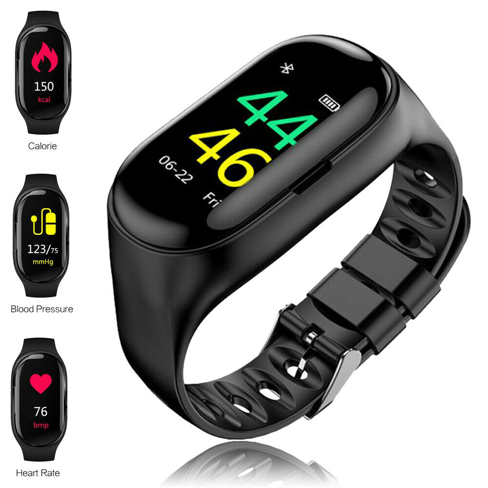 Sporty 2 in 1 Earbuds+Watch Health Fitness Tracker Heart Rate Monitor BP Tracker
