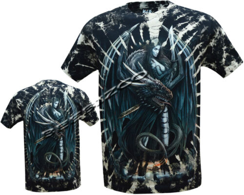 Shirt M New Mystical Dragon Lady Biker Glow In The Dark Tye Dye T 3XL