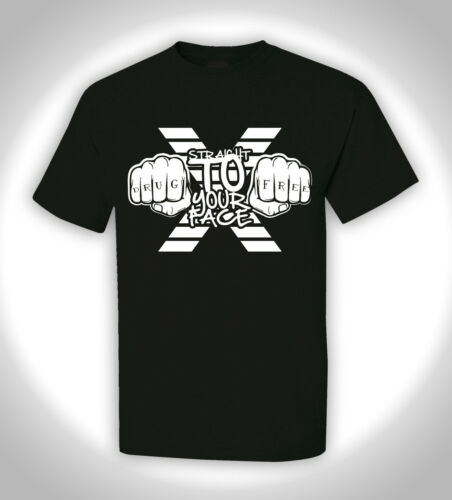DRUG FREE Hardcore Edge Punk Earth Crisis T-Shirt STRAIGHT TO YOUR FACE