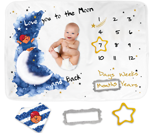 Premium Thick Fleece 250 GSM Personalized Swaddle Reives Baby Monthly Milestone Blanket for Boys Girls Newborn Unisex Photo Props Free Frames and Designed Cardbox Perfect Baby Shower Gift