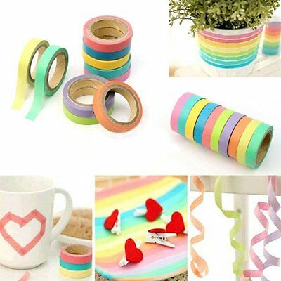 Pack of 10 Washi Paper Masking Tape Sticky Adhesive Roll Crafts Books Decorative