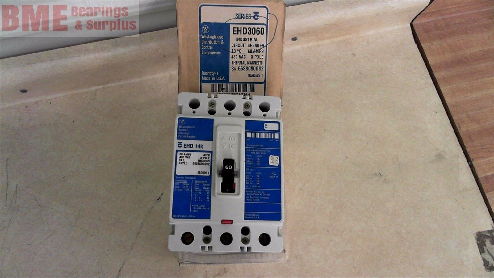 Westinghouse Ehd3060 Circuit Breaker 60amp 480 Volt 3 Pole Ebay Ge Industrial Thql1120afp2 Arc Fault At