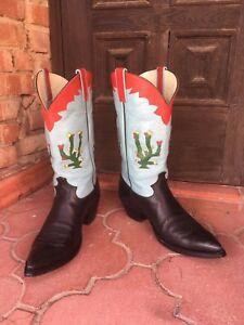 Rancho-Loco-Vintage-Cactus-Hand-Made-Cowboy-boots-Men-039-s-Size-12D