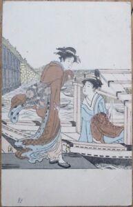 Geisha-Girl-w-Boat-1912-Wood-Cut-Print-Hand-Colored-Postcard-Japan-Japanese