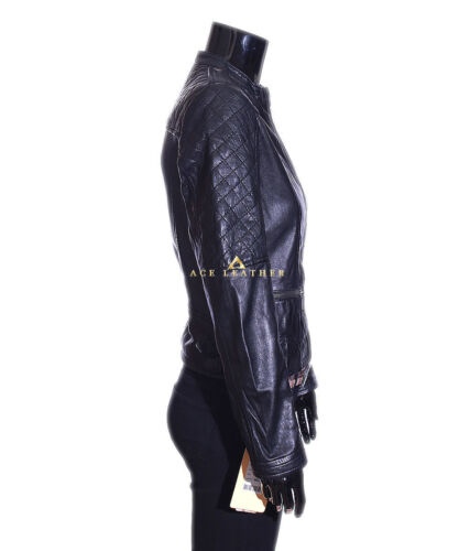 di vera agnello Biker Electra pelle Black pelle in Designer Ladies trapuntata Style xXPvwPgq