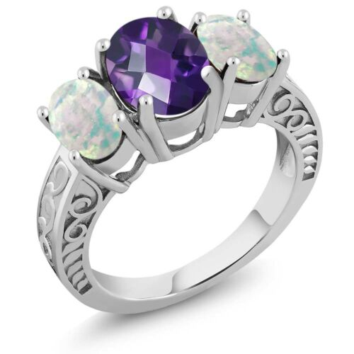 2.76 Ct Oval Checkerboard Amethyst and Simulated Opal 925 Sterling Silver Ring