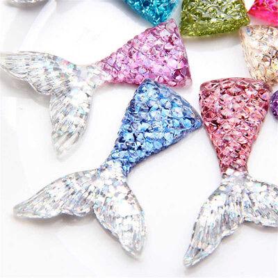 10PCS Mixed Glitter Mermaid Fish Tail Pendant Fit Bracelet Necklace DIY YH