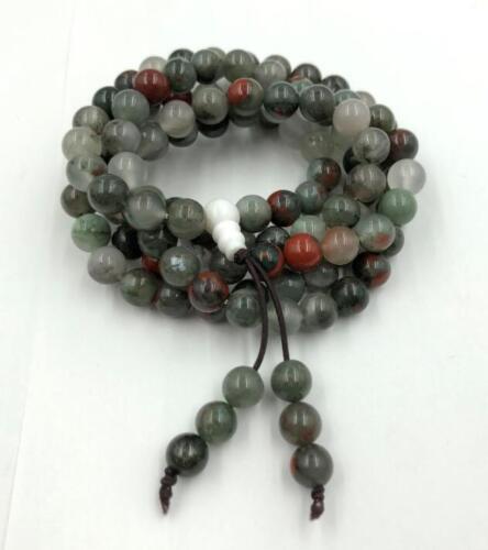8 mm108 natural Bloodstone mala bracelet chakra meditation yoga necklace