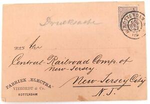.1897 ROTTERDAM to NEW JERSEY CITY, USA on VIERORDT & Co CARD.