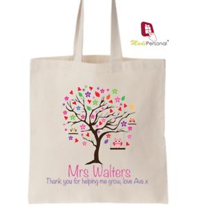 Large PERSONALISED Lockdown 2020 Bag Thank You Teacher Nursery Tree Design White