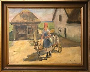 Mogens-Ege-1892-1946-MILKING-GIRL-WITH-GOAT-DRIVEN-CART