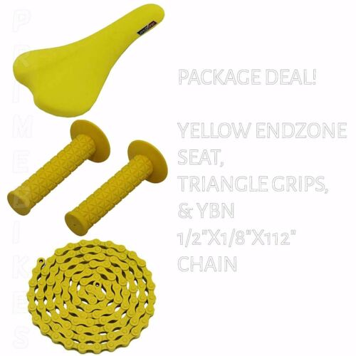 BIKES BMX ROAD MTB FIXIE CYCLING BICYCLE SEAT GRIPS CHAIN YELLOW PACKAGE DEAL