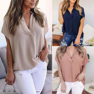 Frauen-V-Ausschnitt-Shirt-Bluse-Tops-Sommer-Lose-Chiffon-Kurzarm-Casual-T-Shirt