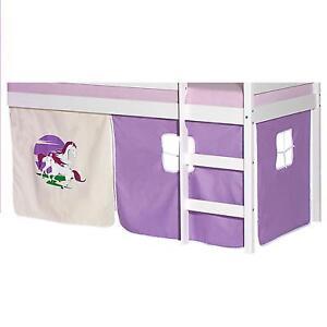 Rideaux-cabane-pour-lit-sureleve-mi-hauteur-tissu-coton-motif-licorne-violet