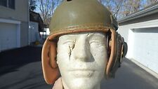 US Army WW2 SHERMAN TANKER M-1938 TANK HELMET MFG Rawlings Size 7 1/8