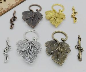 10Sets-Mixed-Silver-Gold-Copper-Bronze-Leaf-Connector-Toggle-Clasps-For-Bracelet
