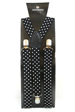Black White Polka Dot Adjustable Braces Suspenders Mens Womens Fancy Dress 2.5cm