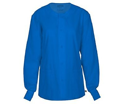 Cherokee Workwear Scrub Unisex Snap Front Jacket 34350A ROYW Royal Free Shipping