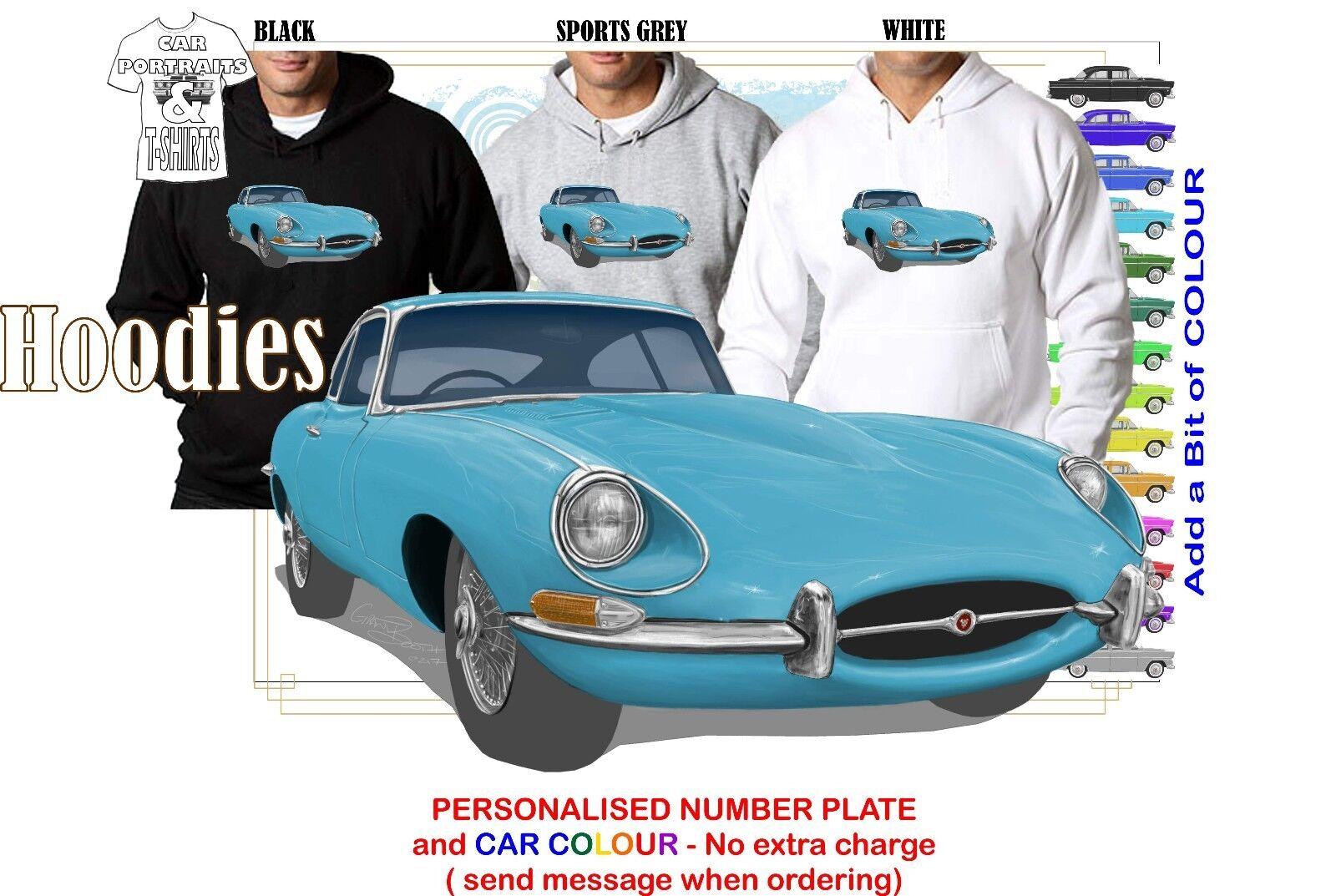 E-TYPE JAGUAR 1968 1.5 HFC HOODIE ILLUSTRATED CLASSIC RETRO MUSCLE SPORTS CAR