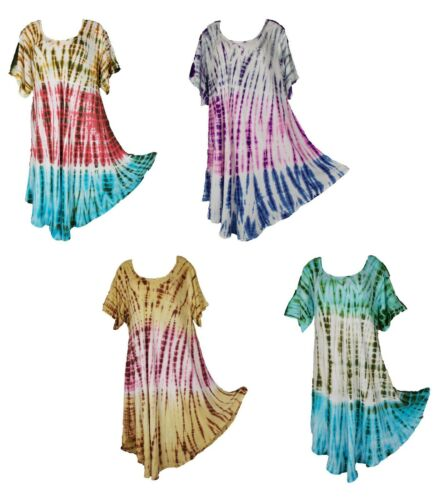 Tie Dye Hippie Tunic Top Dress Boho Beach Kaftan Size 18 20 22 24 26 28 30 FEB