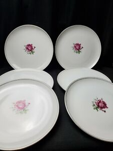 """6 Fine China Of Japan 10 1/2"""" Dinner Plates In The Imperial Rose #6702 Pattern"""