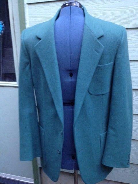 Vtg Alexander Shield  Herren 100% Wool 2 Button Teal Blau Sport Coat 40 Long