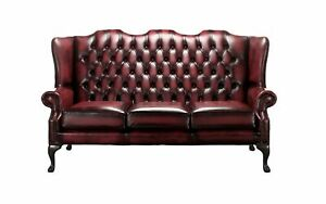 Details About Chesterfield 3 Seater Queen Anne Mallory High Back Oxblood Leather Sofa