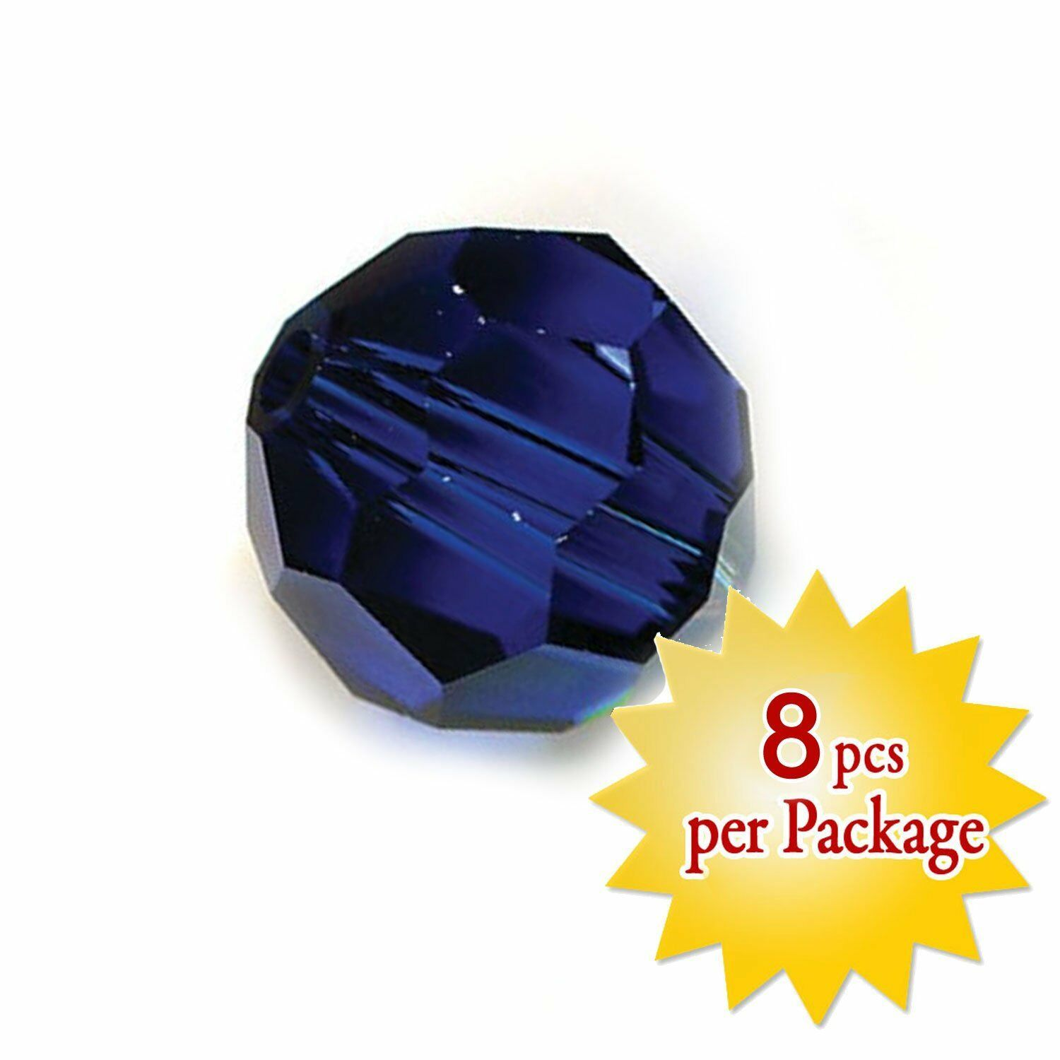 Swarovski  Round Crystal 8mm Dark Sapphire Classic Cut Necklace Beads Pack of 16
