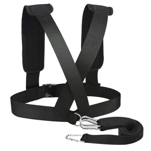 Sled Harness Vest with Padded Shoulders Fitness Pulling Strap with 3 Hooks