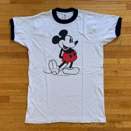 VINTAGE 70s MICKEY MOUSE RINGER T-SHIRT SZ S DISNE