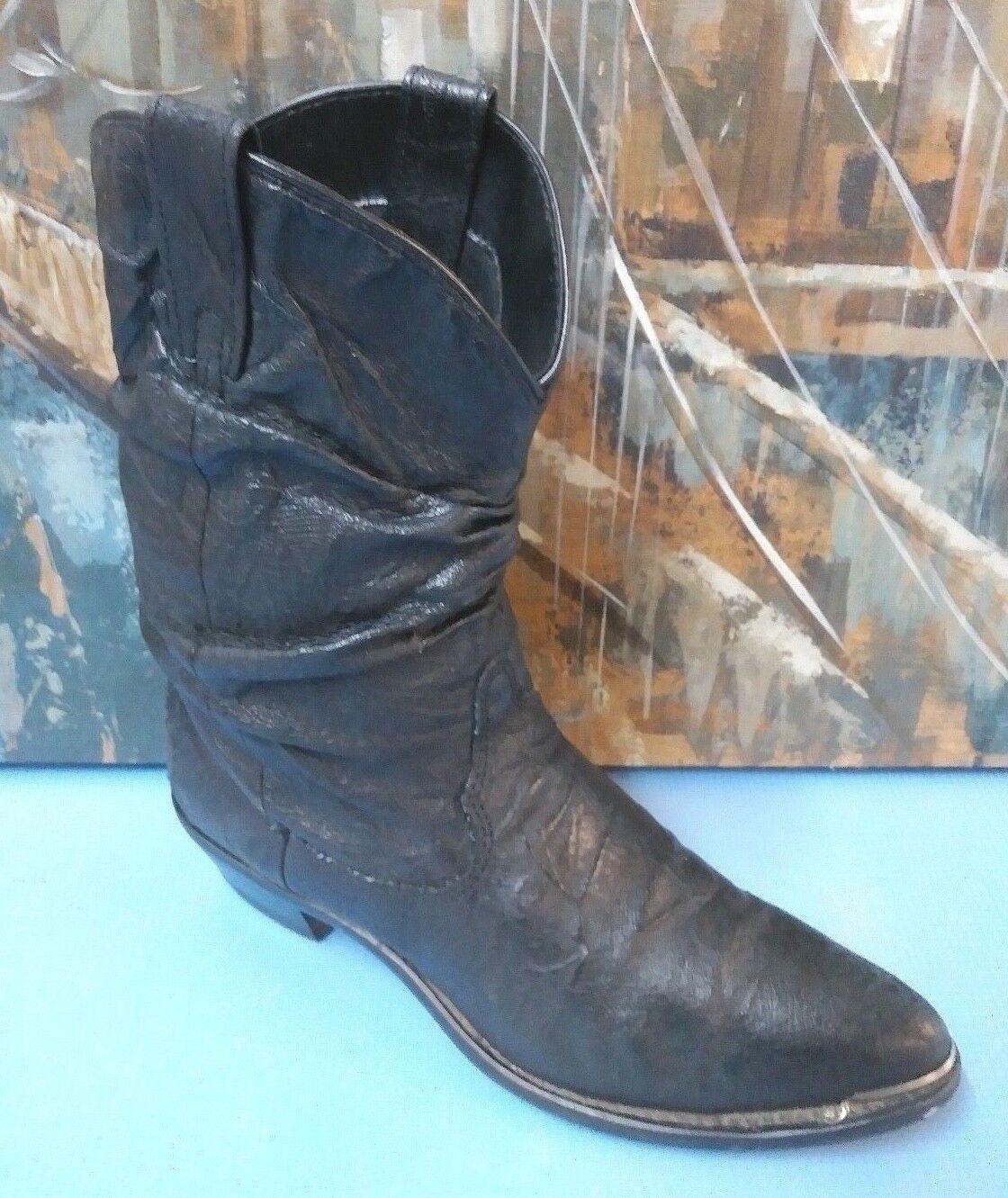 WOMENS DINGO COWBOY LEATHER BLACK BOOTS SIZE 6.5 M STYLE 15014