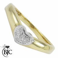 BJC® 9ct yellow gold Diamond 0.03ct Heart size N engagement dress ring R75