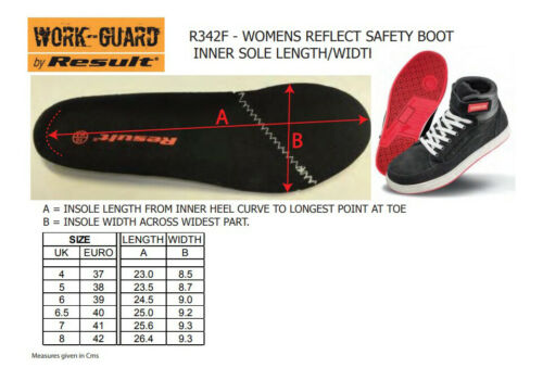 R342F Result Work-Guard Women/'s Reflect Safety Boot Leather Midsole Shoes