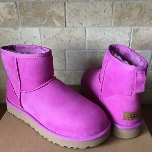 UGG-Classic-Mini-II-Bodacious-Pink-Water-resistant-Suede-Boots-Size-US-9-Womens