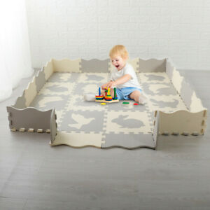 EVA-Baby-Play-Mat-with-Fence-Interlockin-Foam-Floor-Tiles-with-Crawling-Mat-US