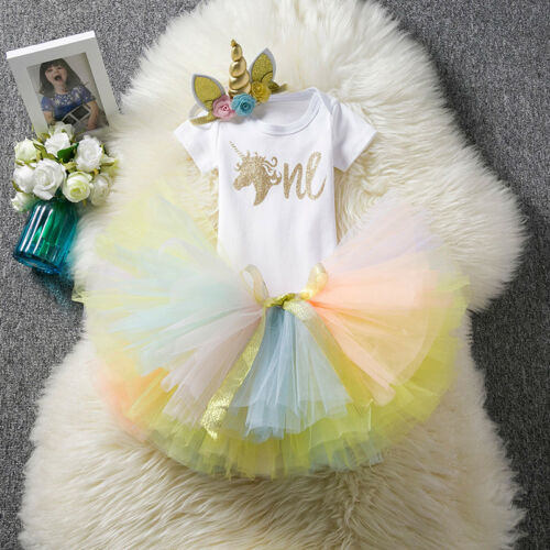 Baby Girls Unicorn Lace Tutu Tulle Princess Dress Top Skirt 1st Birthday Outfits