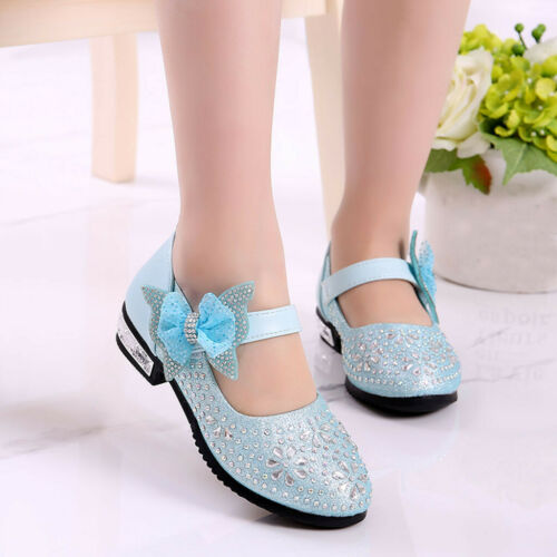 Child Kids Baby Girl Crystal Bling Sequins Single Dancing Princess Shoes Sandals