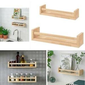 Wall-Mounted-Floating-Wood-Shelves-Spice-Jar-Rack-Holder-Bookcase-Storage-Unit