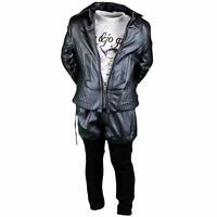 Set Child Clothes Winter Girl Trousers + T Shirt + Jacket Sky Black