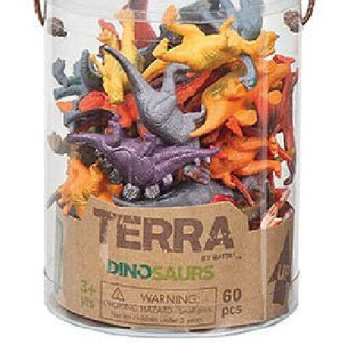 Kid Dinosaur Figure Set 60pc Children Jurassic Animal Game Play Toy T Rex Bucket