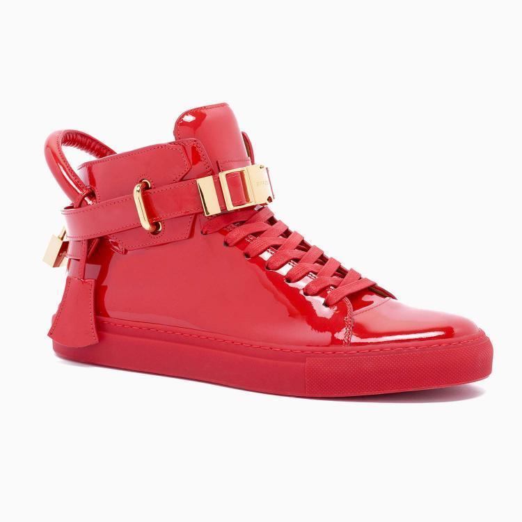 BUSCEMI Designer 100MM Clip Patent True Red Leather Hi-Top shoes Trainers UK 7