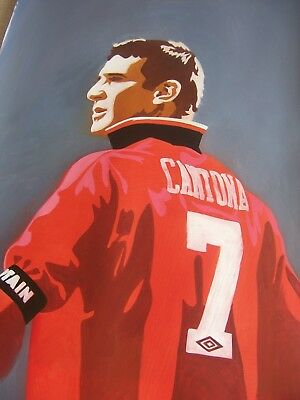 Eric Cantona Manchester United legend 28x16 inch oil painting Old Trafford