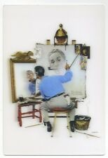 3-D Postcard Triple Self Portrait by Norman Rockwell New 3D Lenticular Postcard